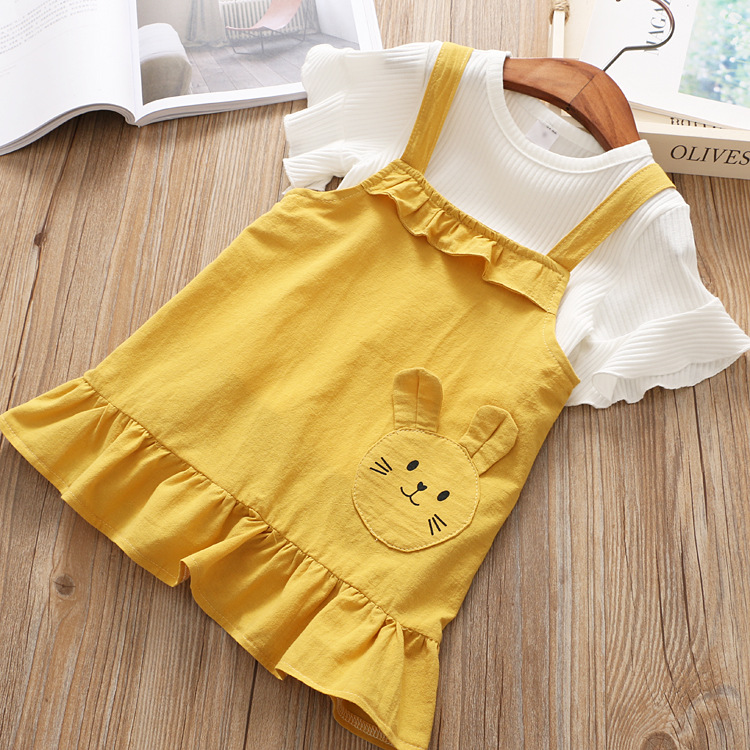 2018 New Girls Set Child Ruffles Shirts + Cartoon Suspander Dress Set for Girls Korean Children Set Fashion Kids Clothing Set