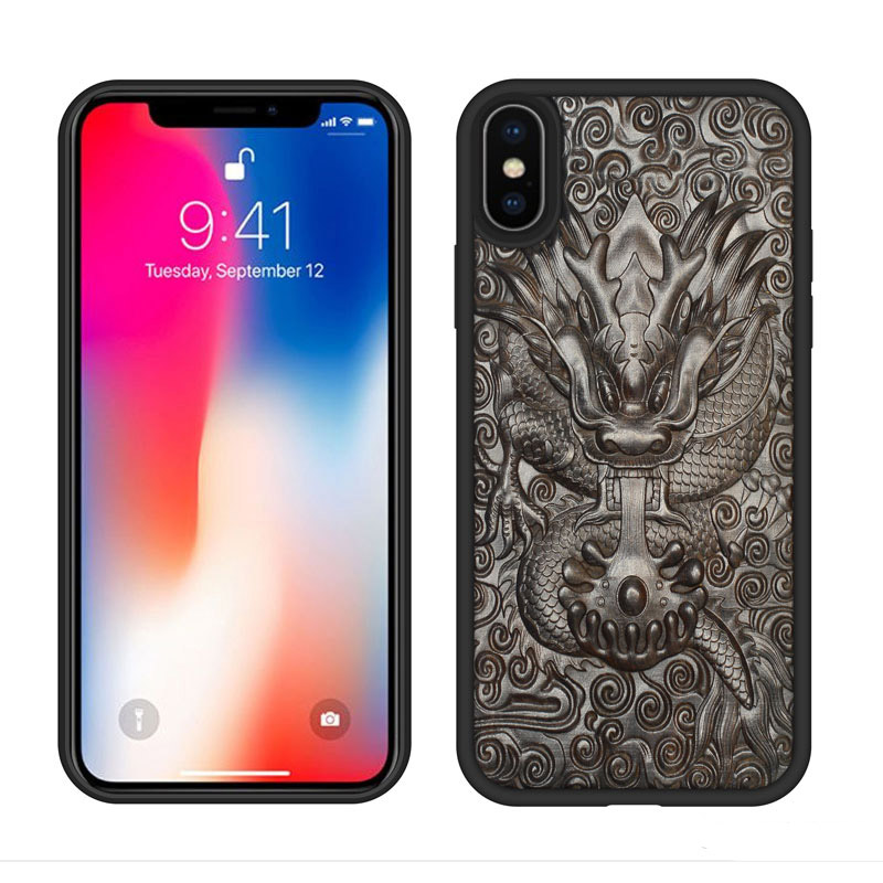 Luxury Ebony Wood 3D Stereo Carved Back Cover Case for iPhone X TPU Full Protective Edge Phone Bag Cases For iPhone X 5.8