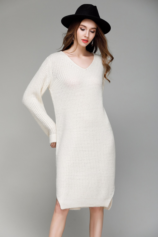 2018 Casual Autumn Winter Women Sweater Dress V Neck Long Sleeve Solid Loose Knitting Dress Sexy Split Dress Vestido de inverno