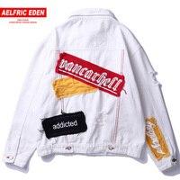 Aelfric Eden European and American Jean Jackets Men Hip Hop Street Wear Denim Jeans Baseball Jacket Blue White Windbreaker Ca06