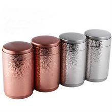 Pitting Metal Canister Tea Caddy Tin Jar Coffee Can Kitchen Storage Container Rose Gold 100 x 100 x 121mm