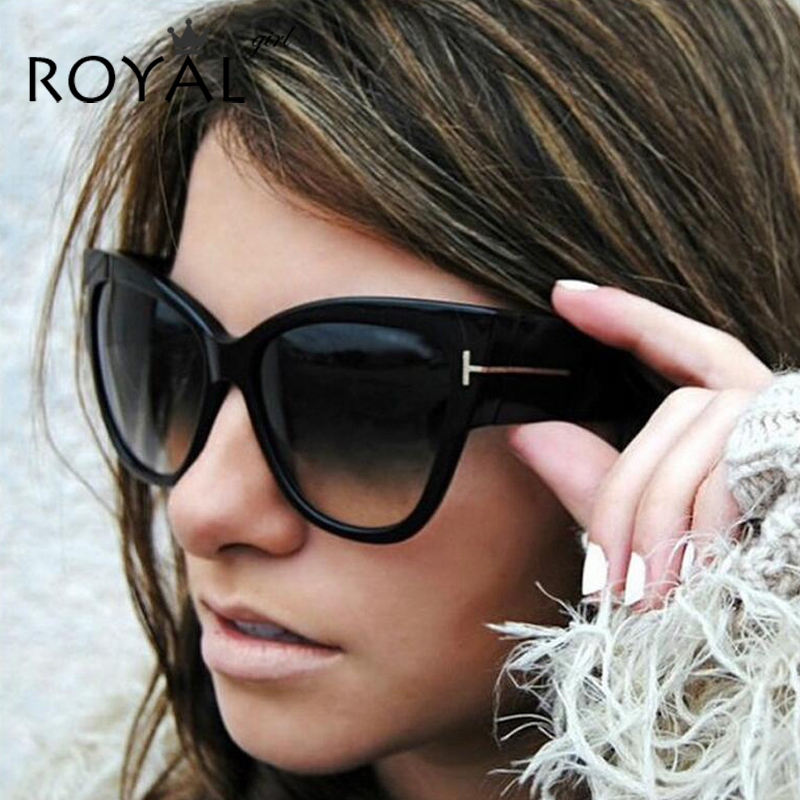 ROYAL GIRL Cat Eye Women Solglasögon Luxury Brand Designer Oversize Acetate Sun Glasses Vintage Sexy Shades Oculos UV400 ss649