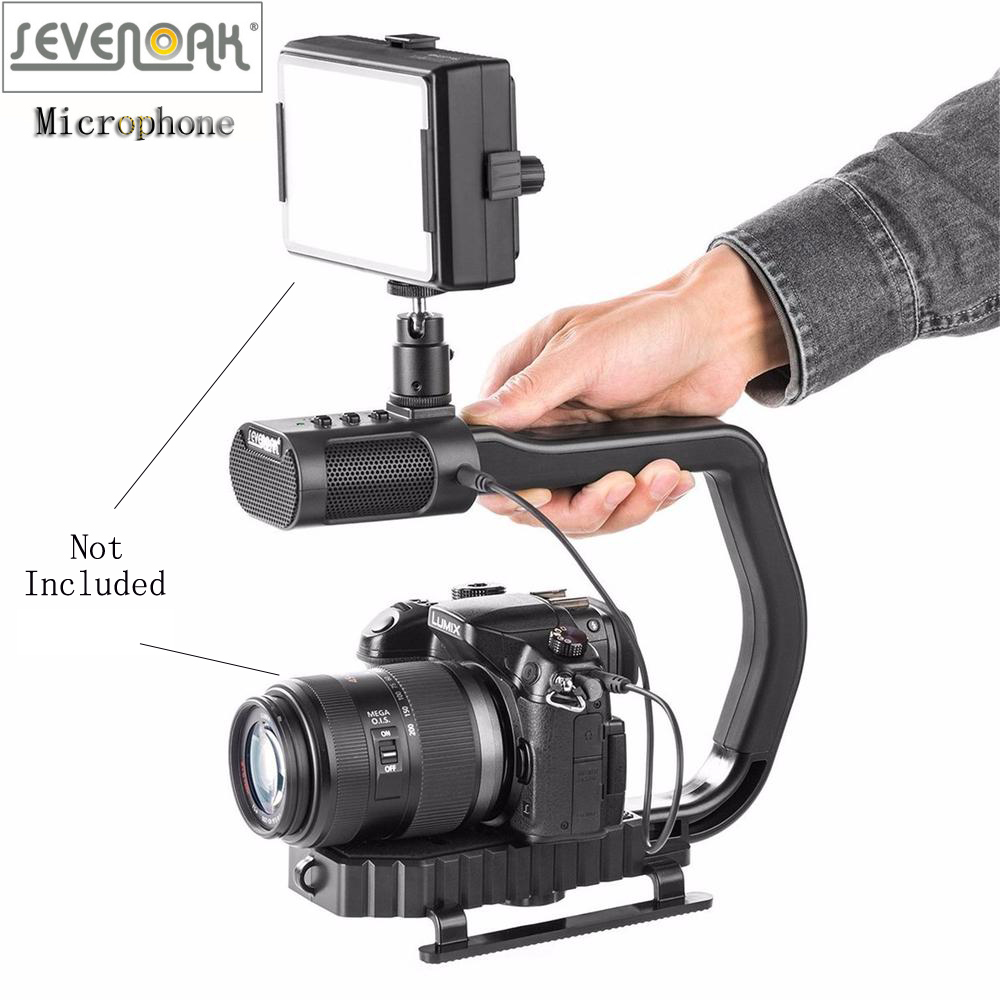 Sevenoak MicRig Handle Grip Built-in Stereo Microphone for iPhone Microphone for Canon Nikon Lumix Sony DJI Osmo DSLR Camera