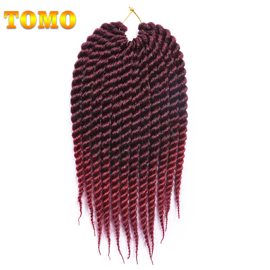 "TOMO Kanekalon Crochet Braids Senegalese Twist Weave 12"" 18"" 12Roots/Pack Ombre Synthetic Crochet Hair Extensions 18 Colors"