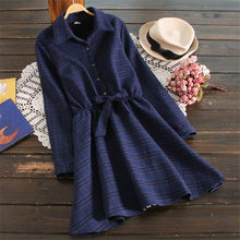 Autumn Winter Thick Plaid Dresses New Fashion Brand Plaid Vintage Dress European Style Beautiful Women Casual Warm Dress A3735(China)