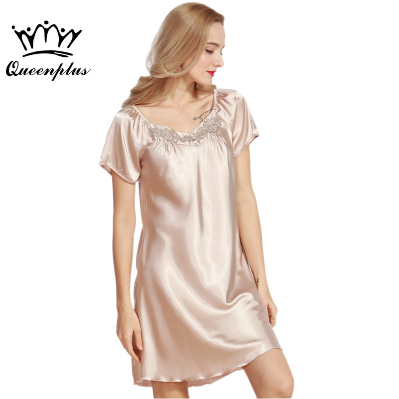 8d4a8ef6d9 Queenplus Women Nightgowns Faux Silk 2017 New Ladies Summer Silky Nightie  Sleepshirts Female Sleep Lounge Woman Leisure