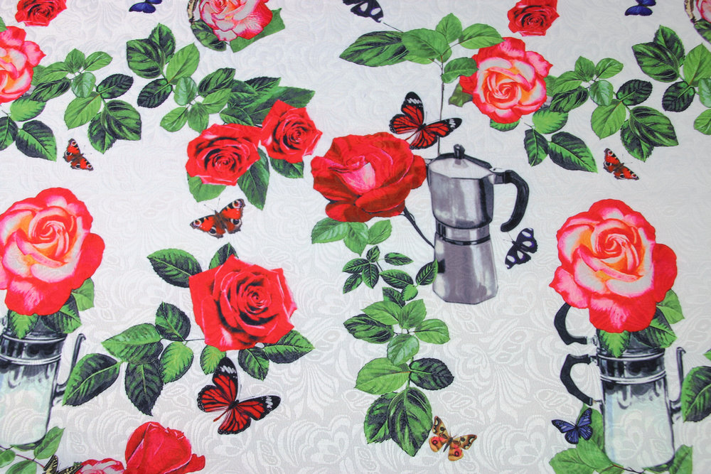 Romantic Theme Fresh Witty Collection with Coffeepot Rose Embossed Jacquard Fabric for Woman Spring Autumn Dress Skirt DIY-AF519