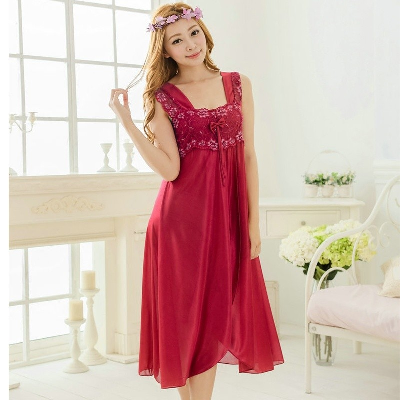 Hot Women Summer Sleepwear Silk Sling Lingerie Soft   Nightgowns   &   Sleepshirts