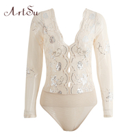 ArtSu Sequin Mesh Bodysuit Women Long Sleeve Autumn 2017 Bodysuits Body Top Sexy V Neck Hollow