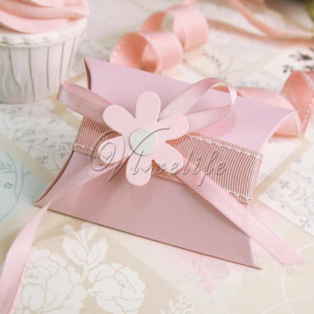 12pc Cute Kraft Paper Gift Box Pillow Shape Wedding Party Favor ...