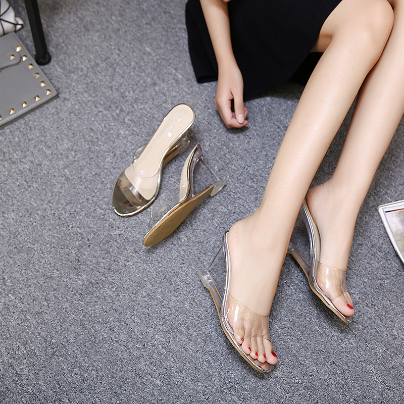2018 Jelly Sandals Open Toe High Heels Women Transparent Perspex Slippers  Shoes Wedge Heel Clear Sandals Plus Size 34 40 3008-in High Heels from  Shoes on ...