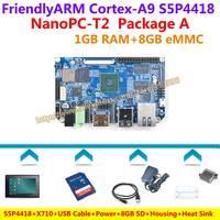 Nuevo Placa de demostración S5P4418 Quad Core Cortex-A9 NanoPC-T2 + X710 + Cable USB + alimentación + disipador de calor + funda + 8 GB SD lector de tarjetas + = NanoPC T2 paquete
