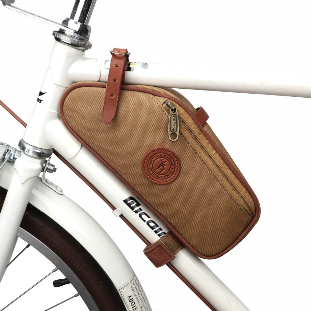 цена на Tourbon Bike Frame Tube Bag Bicycle Saddle Pouch Seat Tail Carrier Brown Waxed Canvas Waterproof Cycling Accessories