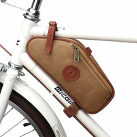 Tourbon Bike Frame Tube Bag Bicycle Saddle Pouch Seat Tail Carrier Brown Waxed Canvas Waterproof Cycling Accessories