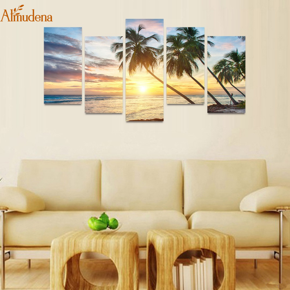 ALMUDENA Frameless Wall Art Canvas Painting 5 Panels Sunset Beach ...