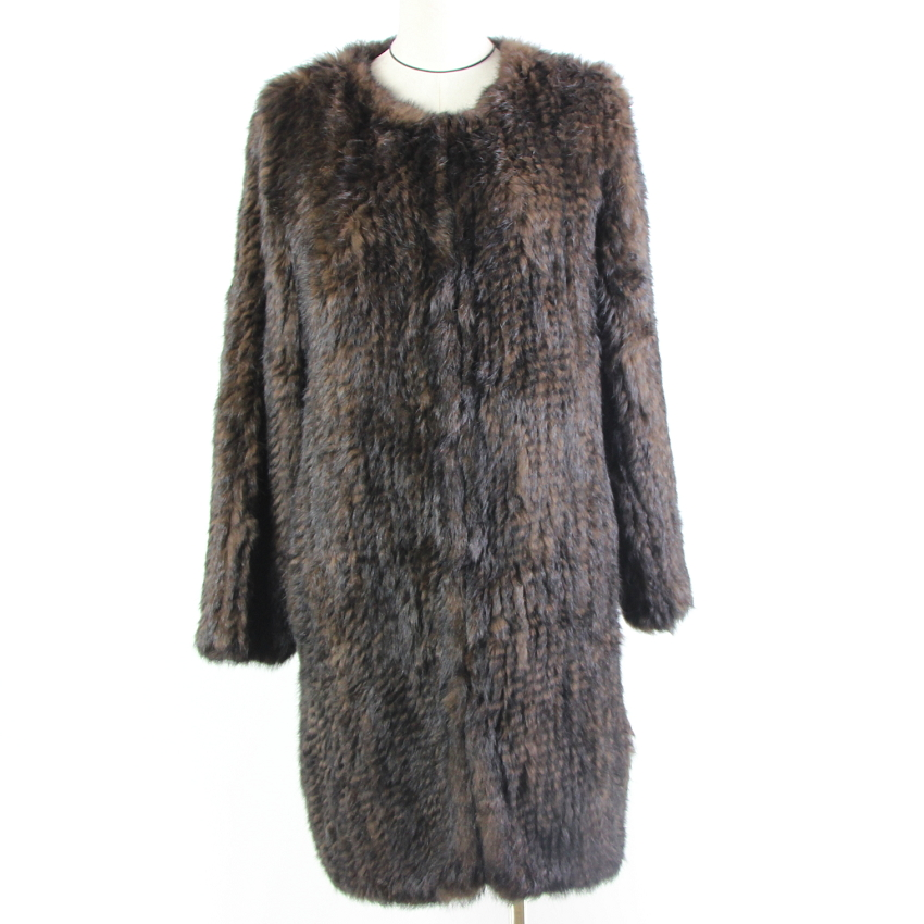 Real-Fur-Coat Russia Rabbit Natural Genuine-Fur Womens Knitted Long-Sleeve Winter  title=