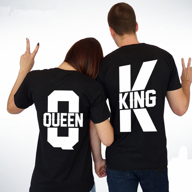 Tops King Queen Casual Loose Couple  Matching Lovers Unisex T-shirt