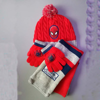 Minions Hats Glove Scarf Set Baby Boys 2016 New Children Anime Characters Spiderman Cartoon Winter Knitted