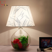 Nordic glass ball table lamp for bedroom study room deco lihgt fixture,modern cloth lampshade creative desk lamp bedside lamp