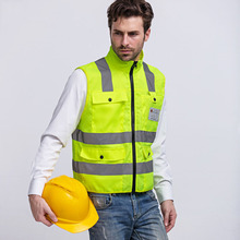 Safety Vest High Visibility Reflective Strip Fluorescent yellow Workwear Vest Multi pockets Outdoor Safety Working Tops Clothing