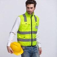 Veiligheid Vest Hoge Zichtbaarheid Reflecterende Strip Fluorescerende gele Workwear Vest Multi zakken Outdoor Veiligheid Werken Tops Kleding