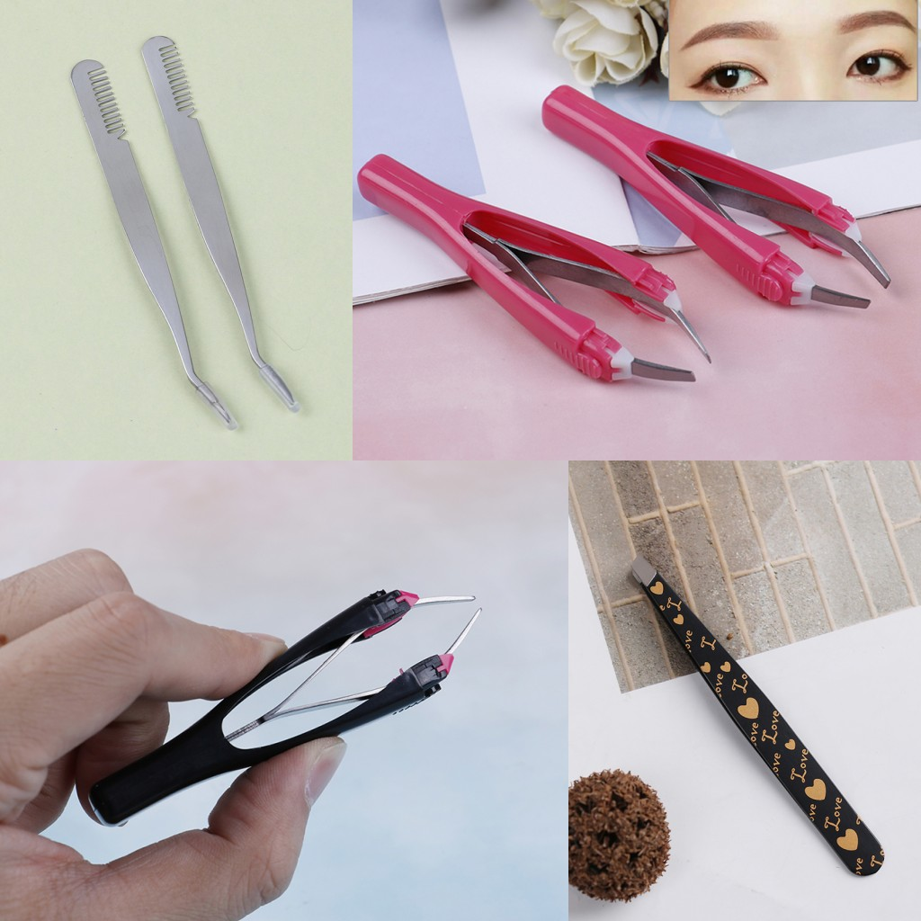 2019 New 4 Styles Eyebrow Tweezers Automatically Retractable Slant Tip Eyebrow Eyelash Clip Outdoor Camping Makeup Tools