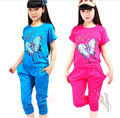 New Arrival 2016 Child Clothing Set Big Girls Clothing Cotton Clothes Sets T-Shirt +Half Pants 2 pieces Girl Casual Sport Suits