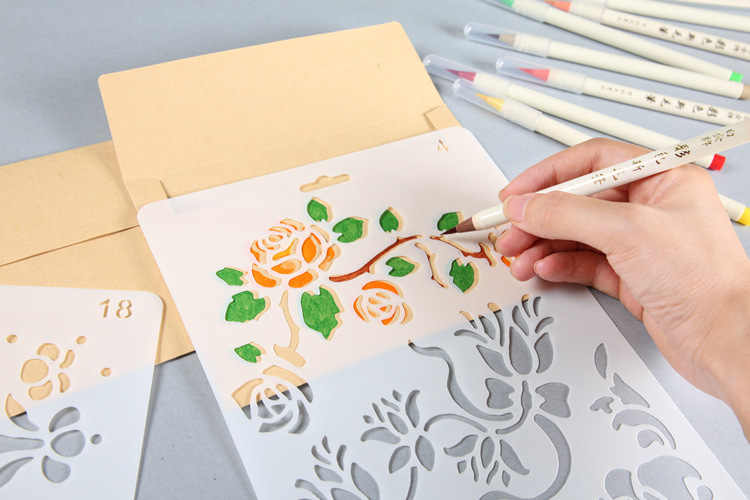 Hand Drawing Stencil Tools ToysAnimal Buterfly DIY Photo Album Novelty Educational Creative Children Various Styles Art Supplies