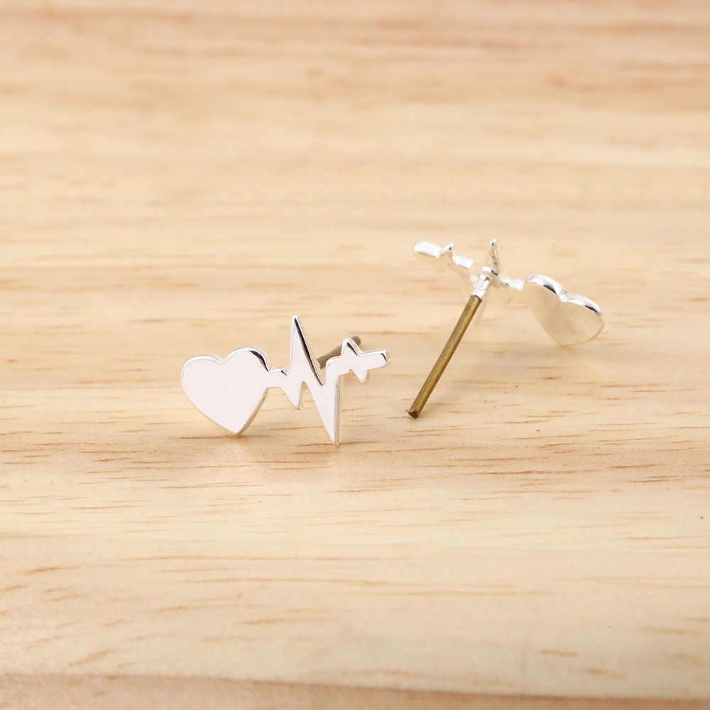 Jisensp แฟชั่น Heartbeat ต่างหูสแตนเลส ECG Induction ต่างหูเครื่องประดับ Minimalist Ear Studs