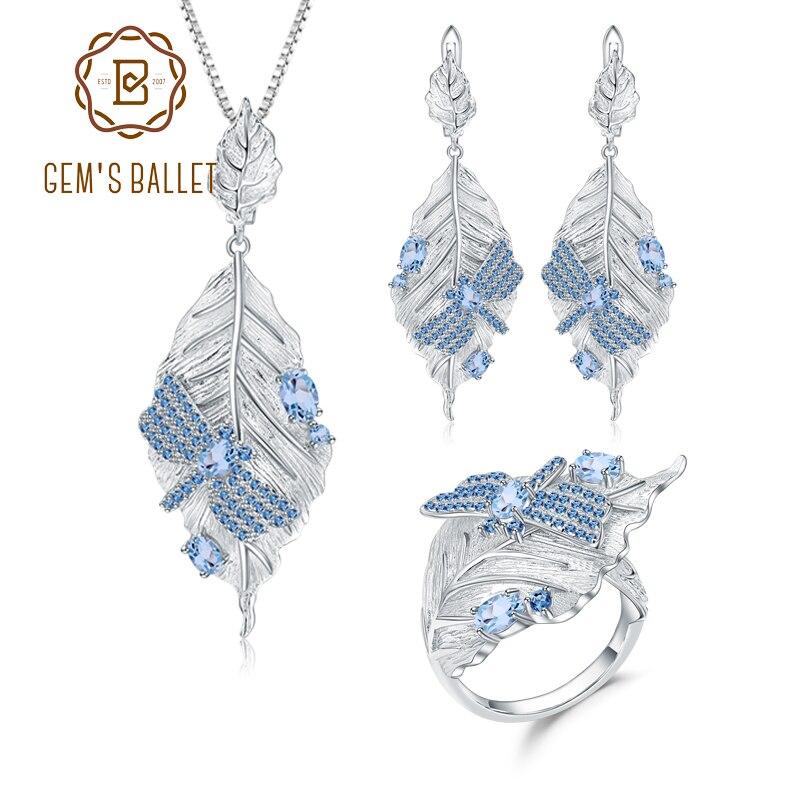 GEM'S balet naturalne szwajcarski niebieski Topaz pierścionek kolczyki wisiorek 925 srebro ręcznie liście kamień zestaw biżuterii dla kobiet w Zestawy biżuterii od Biżuteria i akcesoria na  Grupa 1