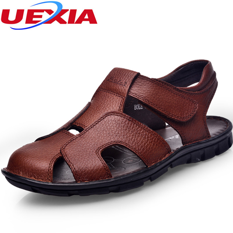 Summer Outdoor Beach Casual Sandals Men Shoes Slip on Flats Hook Loop Rubber botto Men's Quality First Leather Zapatos Sandalias цена