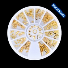 Gold Mixed 3D DIY Jewelry Hollow Design Studs Metal Rivets Nail Art Decoration Tools