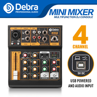 Debra USB input 4 channel portable audio mixer DJ music console with XLR with 48V phantom power for DJ Live web show F4 upgrade