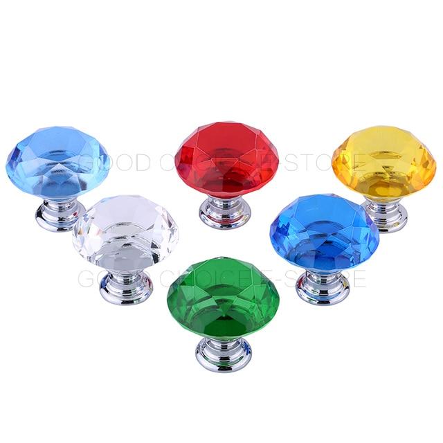 2 unids/lote Alta Calidad Del Vidrio Cristalino Del Cajón Del Gabinete Perilla de Puerta Del Armario Manija de los Muebles de Diamantes Superficie Transparente/Rojo/Azul