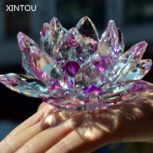 XINTOU Crystal Glass Lotus Flower Figurines Feng Shui miniature collectible Arts & Crafts For Home Living Room Decoration