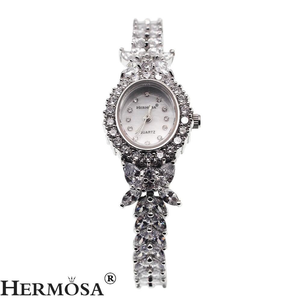 Valentine Gifts Women Quartz Wristwatch Whitetopaz Watch Lady Sterling Silver Links Bracelet Jewelry 7.5 Inches H8113 l 10 women s stylish petals style bracelet quartz analog wristwatch golden white 1 x lr626