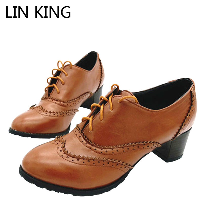 цена на LIN KING Vintage Style Lace Up Thick Heel Boots Shoes For Women Big Size 34-43 High Heels Women Oxfords Shoes Woman Lolita Shoes
