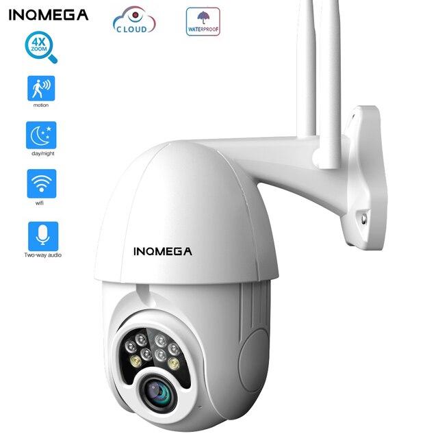 Inqmega 4x 줌 ptz ip 카메라 1080 p 야외 속도 돔 무선 보안 wifi 카메라 외부 팬 틸트 비바람에 견디는 cctv 카메라