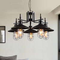 North Europe American Pastoral Style Pendant Lights Black Iron Droplight Luster LED Lighting Industrial Retro Lighting
