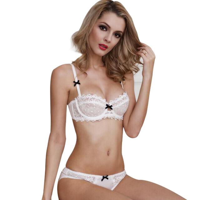 Plus Size Sexy Lace Ultra-fino Conjunto de Sutiã Bordado Floral Push Underwire Underwear Conjunto de Sutiã Breves Conjuntos de Calcinha Lingerie conjunto