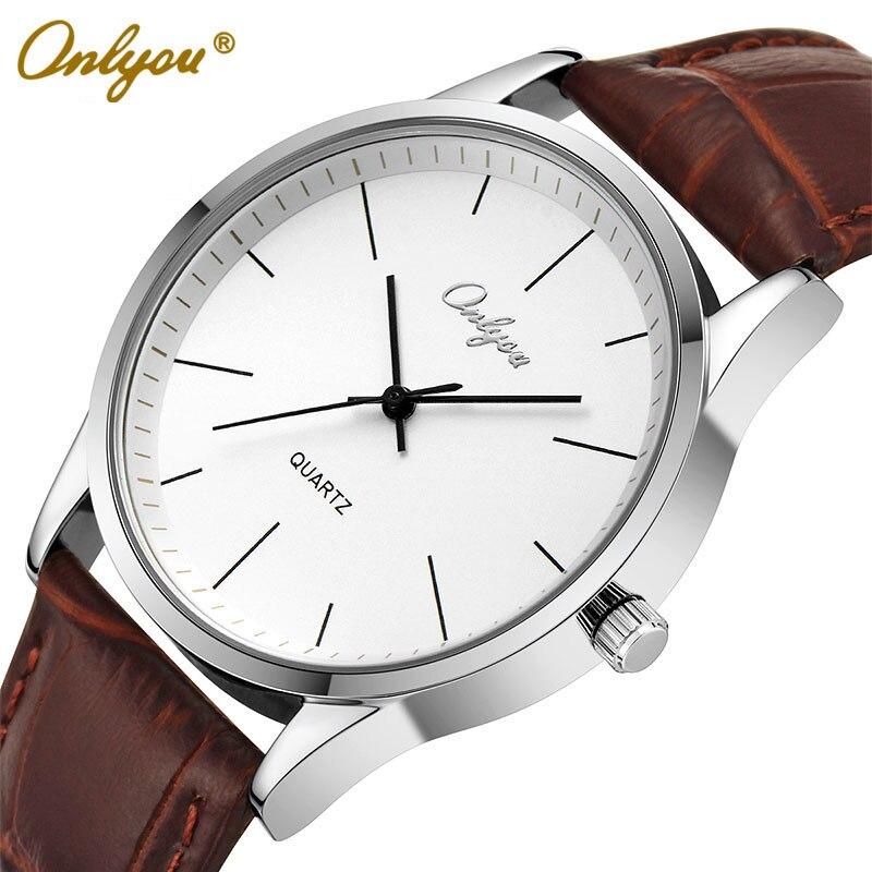 Onlyou Brand Men Women Quartz Leather Watches Lovers 2016 Clock Fashion White Black Wristwatch Relogio Masculino