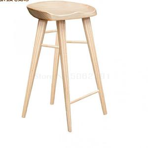 Solid Wood Bar Chair Dining Chair Household Nordic Log Bar Chair Simple Leisure High-footed Stool, Front Desk Chair, Study Chair(China)