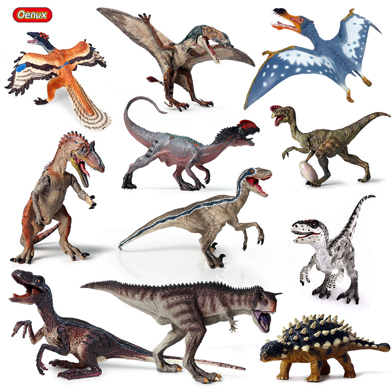 Oenux Original Jurassic Dinosaur Model New Ankylosaurus Cryolophosaurus Pterosaur Dinosaur Animals World Action Figures Kids Toy