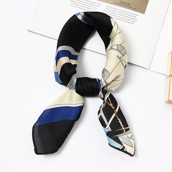 50*50cm Fashion Women Elegant Floral Silk Square Scarf Small Plain Neckerchief Handle Bag Ribbons Ladies Headband Hair Tie Band 8