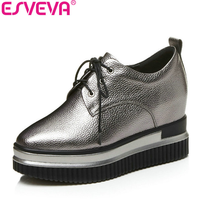 ESVEVA 2018 Women Pumps Wedges High Heels PU +Genuine Leather Concise Lace Up Ladies Fashion Platform Casual Shoes Size 34-42 new 2016 fashion brand shoes wedges round toe lace up women pumps high heels ladies platform shoes creepers plus size 34 42
