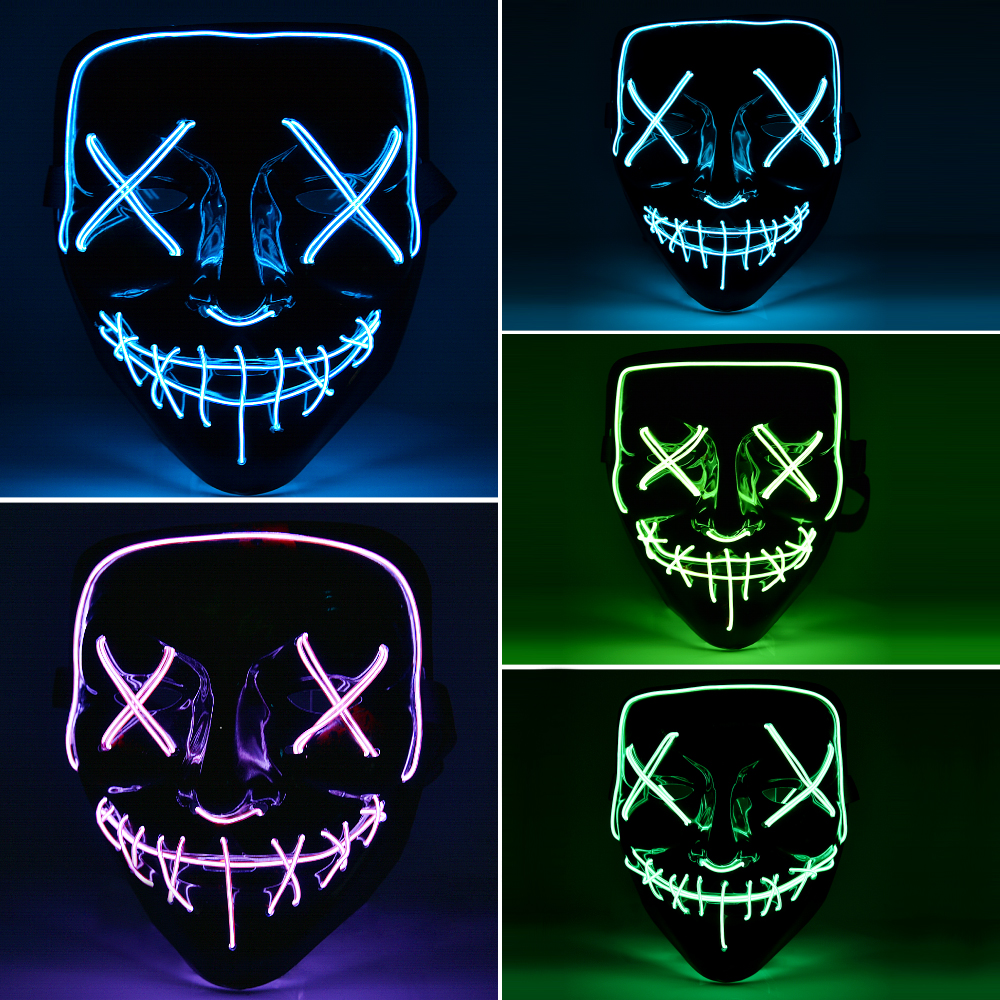 hot sale halloween mask light up neon skull funny mask the purge