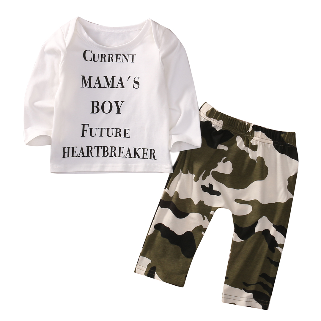 Cute Newborn Baby Boy Clothes Casual Long Sleeve Letter Printed T-shirt Tops + Camouflage Pant 2PCS Outfit Toddler Kids Clothing 2017 newborn baby boy clothes summer short sleeve mama s boy cotton t shirt tops pant 2pcs outfit toddler kids clothing set
