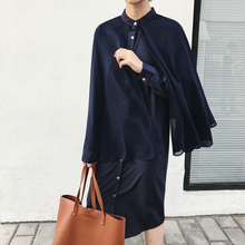 Autumn Clothing New Pattern Woman Solid Color False Two Piece Split Joint Cloak Type Easy Long Shirt Clothing