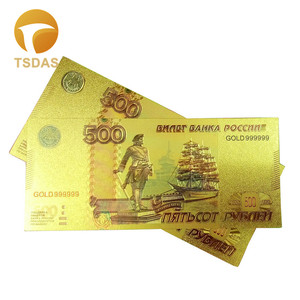 Russia Gold Banknotes Gold Foil 500 Ruble Gold Banknote Collection Home Decor
