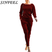 SINFEEL 2018 New Knitted Tracksuit Women 2 Pieces Set Outwear Sweatsuit Causal Long Sleeve Sweater + Pants Womens Sets